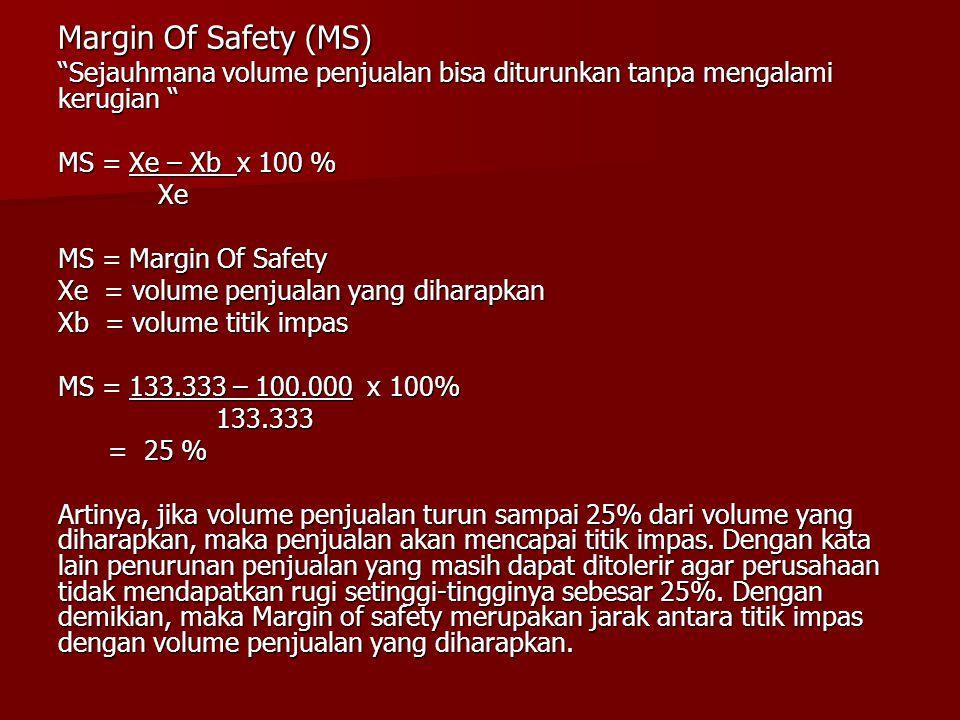 Margin Of Safety (MS) Sejauhmana volume penjualan bisa diturunkan tanpa mengalami kerugian MS = Xe – Xb x 100 %