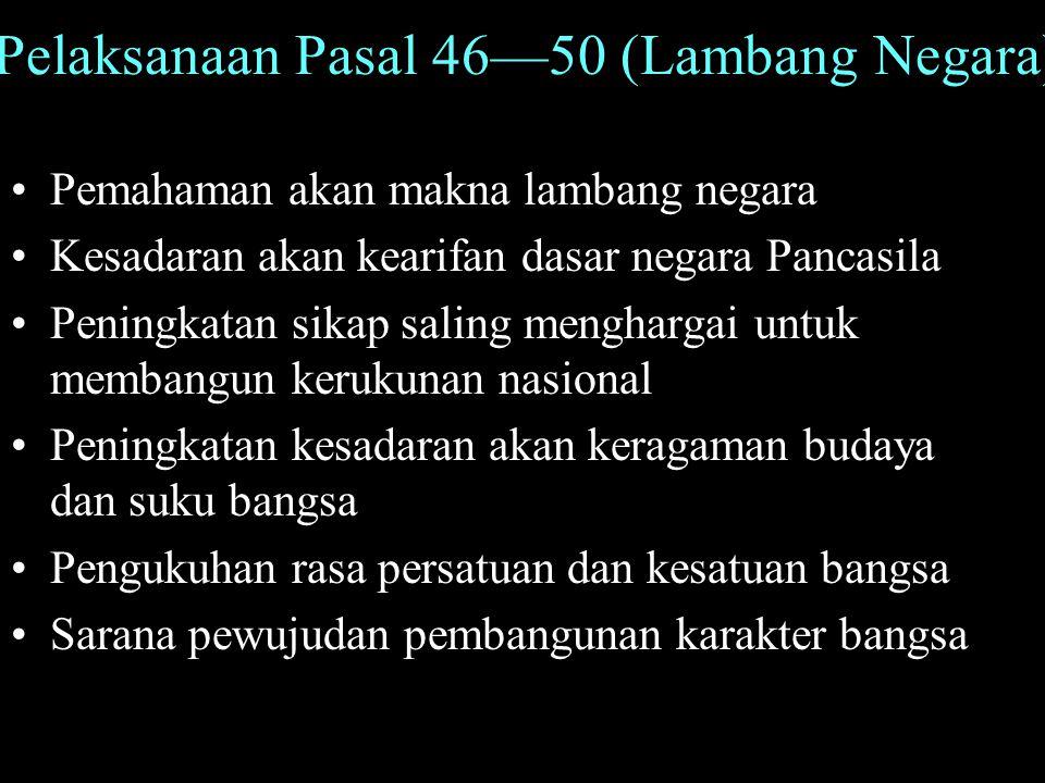 Pelaksanaan Pasal 46—50 (Lambang Negara)