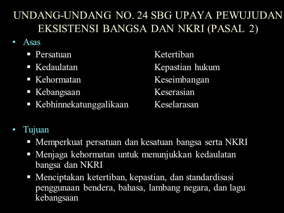 UNDANG-UNDANG NO. 24 SBG UPAYA PEWUJUDAN EKSISTENSI BANGSA DAN NKRI (PASAL 2)