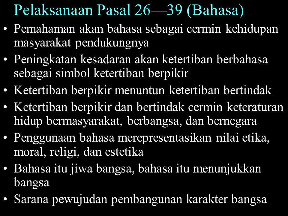 Pelaksanaan Pasal 26—39 (Bahasa)