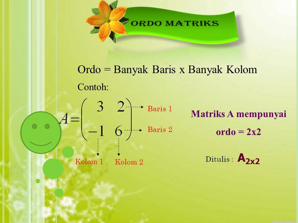 Matriks A mempunyai ordo = 2x2