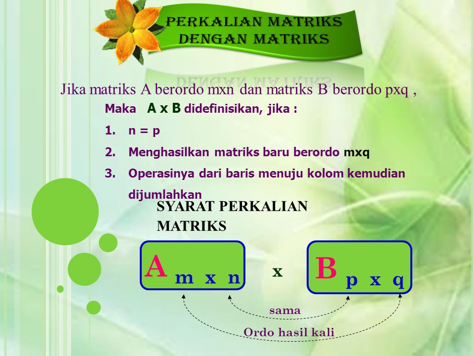 A m x n B p x q PERKALIAN MATRIKS DENGAN MATRIKS