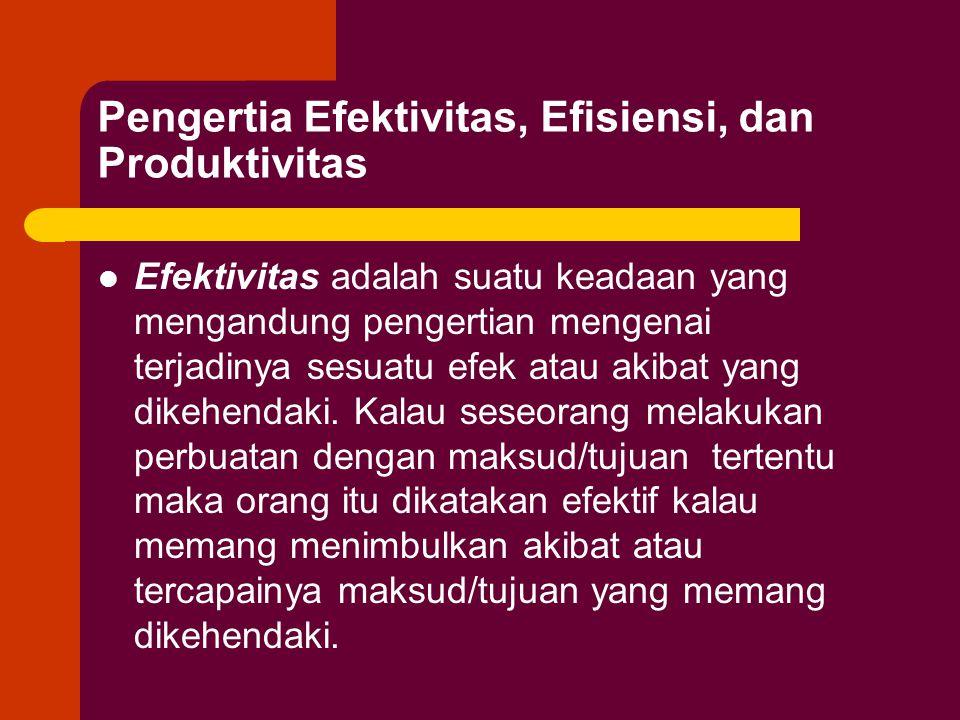Pengertia Efektivitas, Efisiensi, dan Produktivitas