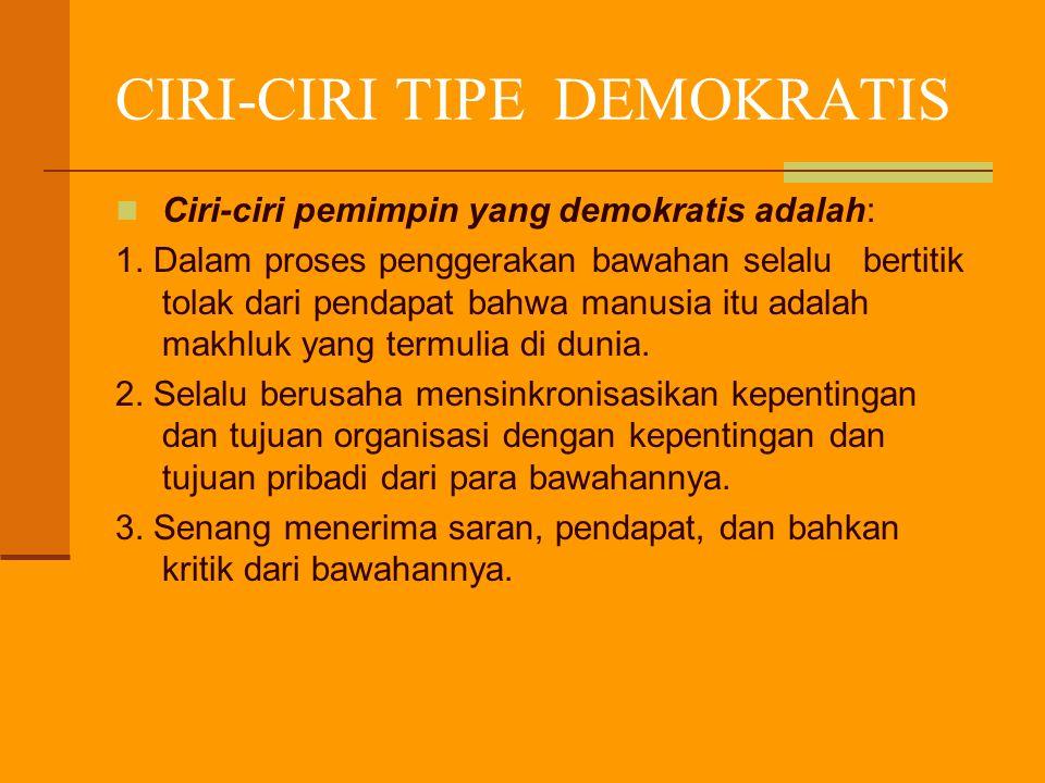 CIRI-CIRI TIPE DEMOKRATIS