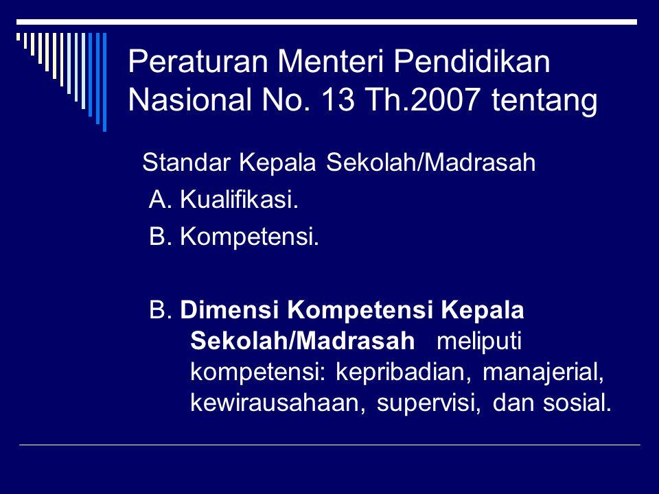 Peraturan Menteri Pendidikan Nasional No. 13 Th.2007 tentang
