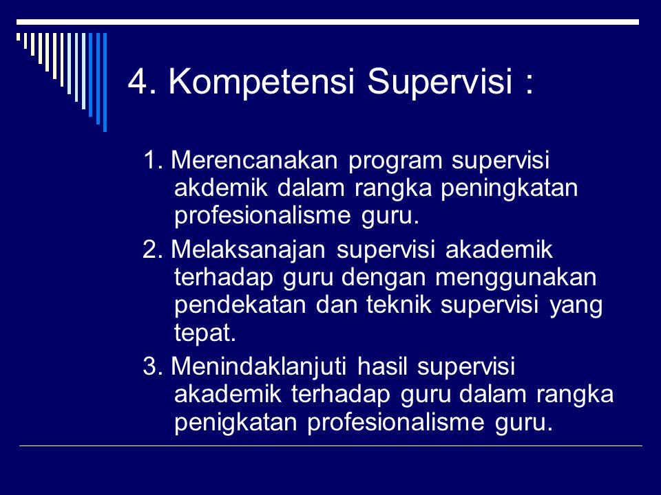 4. Kompetensi Supervisi :