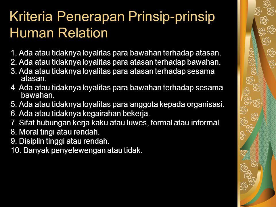 Kriteria Penerapan Prinsip-prinsip Human Relation