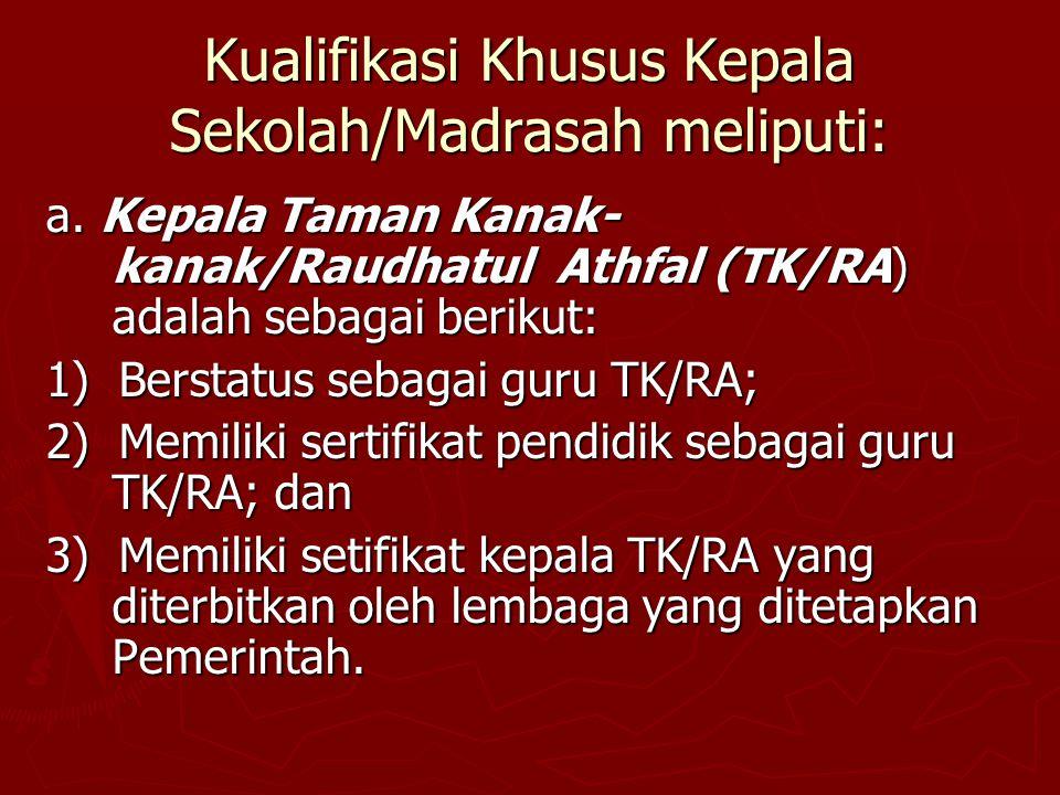 Kualifikasi Khusus Kepala Sekolah/Madrasah meliputi: