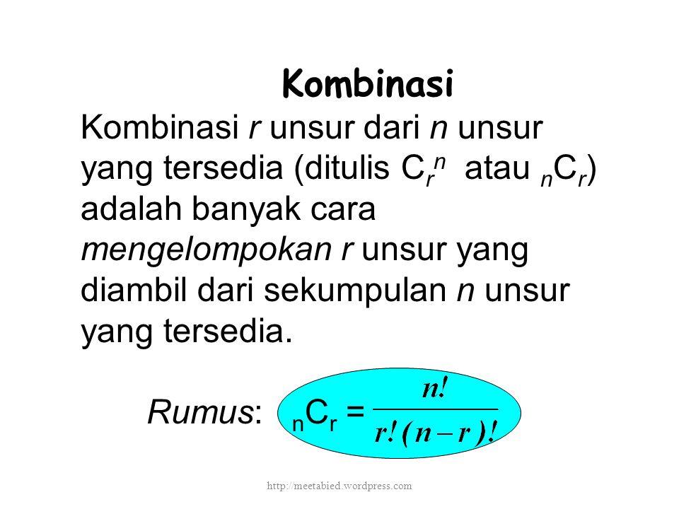 Kombinasi Kombinasi r unsur dari n unsur