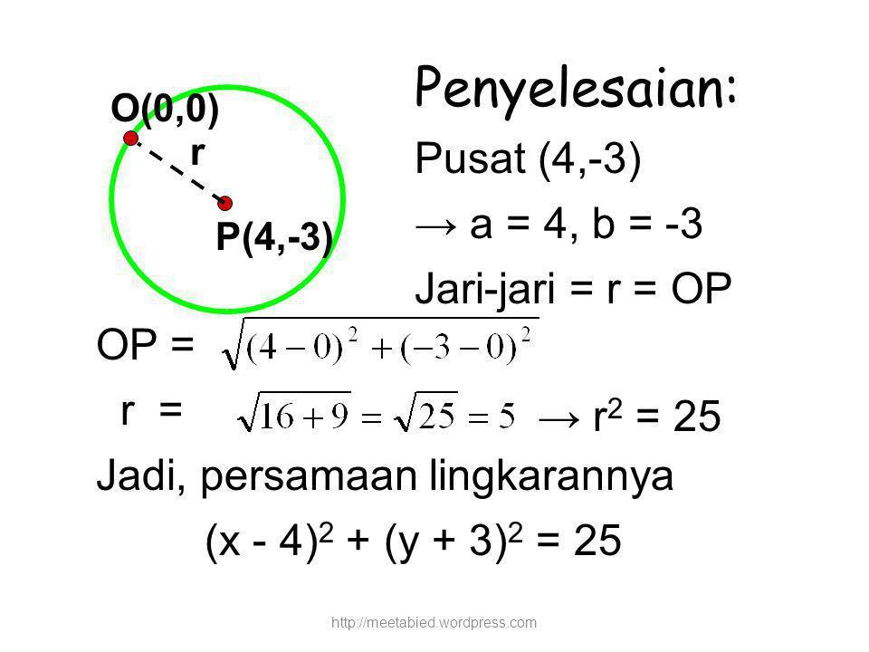 Penyelesaian: Pusat (4,-3) → a = 4, b = -3 Jari-jari = r = OP OP = r =