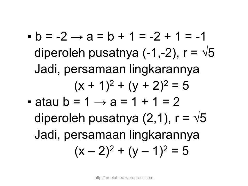 diperoleh pusatnya (-1,-2), r = √5 Jadi, persamaan lingkarannya