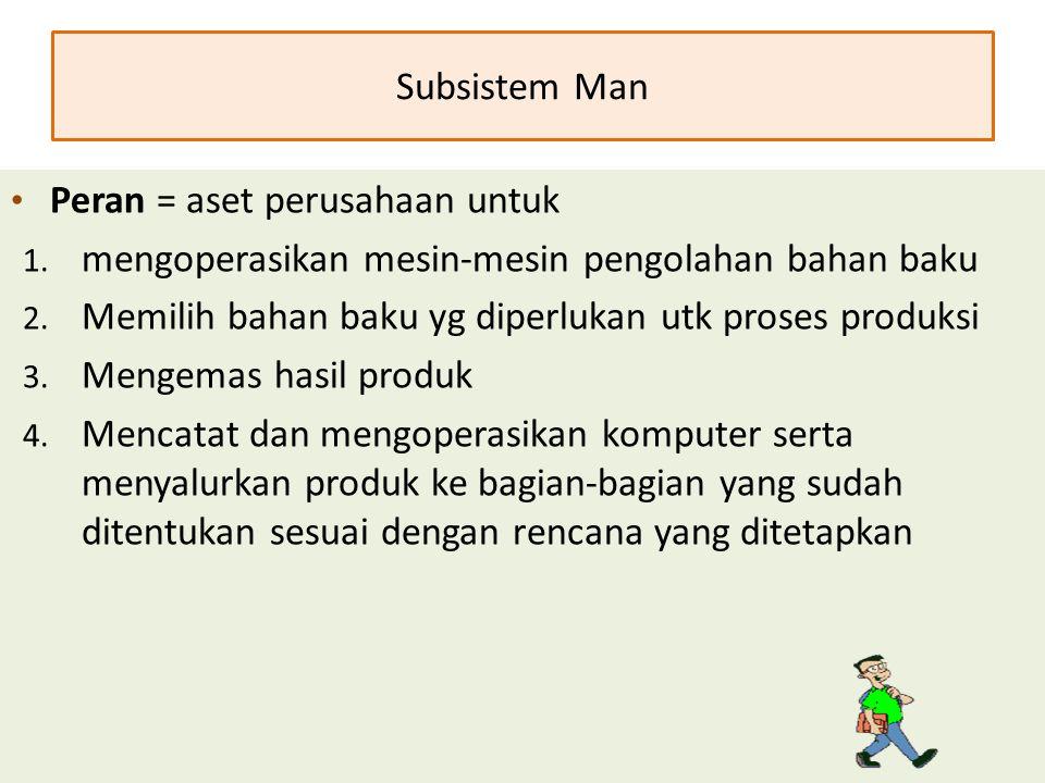 Subsistem Man Peran = aset perusahaan untuk. mengoperasikan mesin-mesin pengolahan bahan baku. Memilih bahan baku yg diperlukan utk proses produksi.