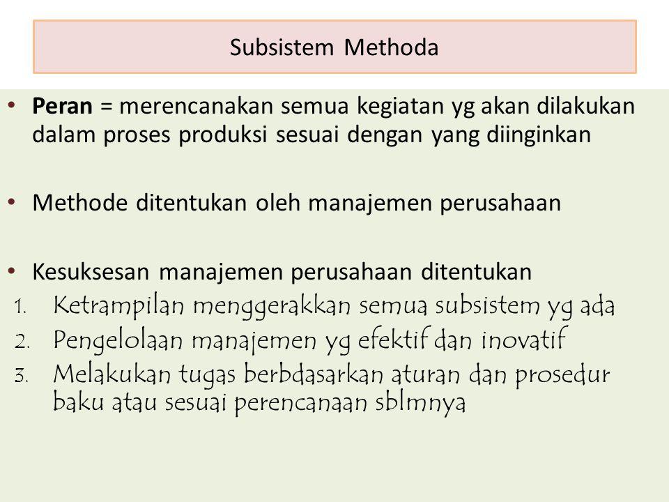 Subsistem Methoda Peran = merencanakan semua kegiatan yg akan dilakukan dalam proses produksi sesuai dengan yang diinginkan.