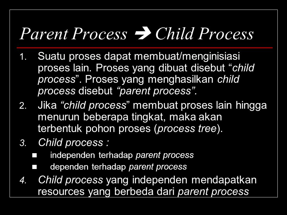 Parent Process  Child Process