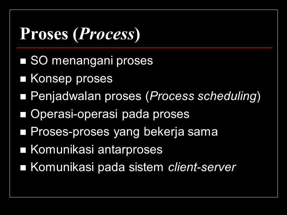 Proses (Process) SO menangani proses Konsep proses
