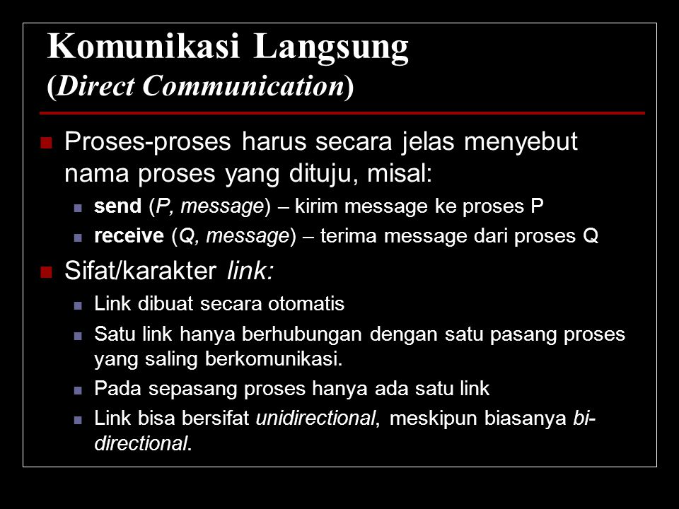 Komunikasi Langsung (Direct Communication)