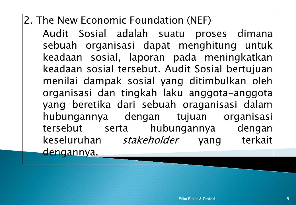 2. The New Economic Foundation (NEF)