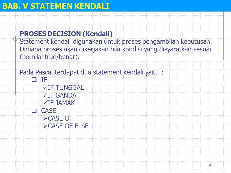 BAB. V STATEMEN KENDALI PROSES DECISION (Kendali)