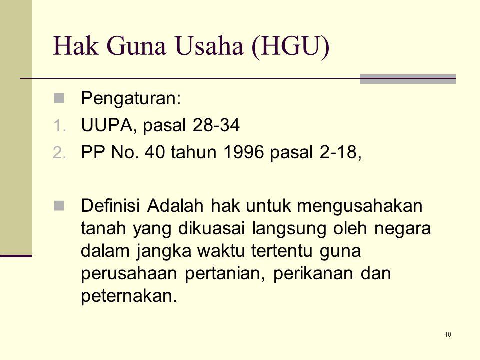 Hak Guna Usaha (HGU) Pengaturan: UUPA, pasal 28-34