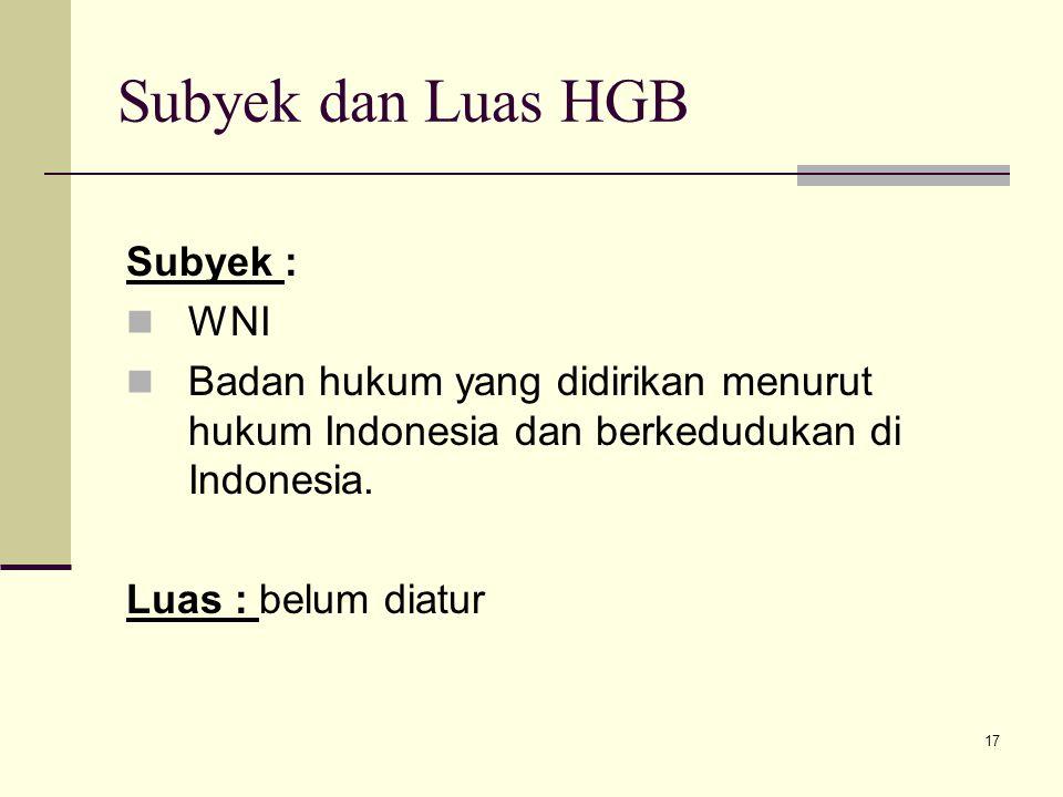 Subyek dan Luas HGB Subyek : WNI