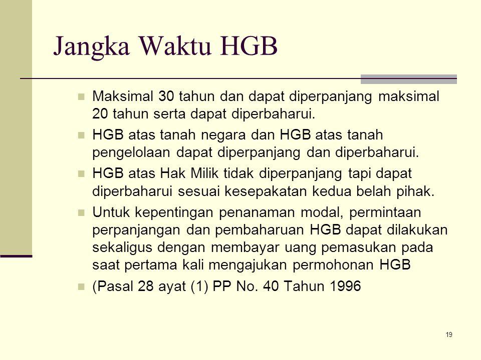 Jangka Waktu HGB Maksimal 30 tahun dan dapat diperpanjang maksimal 20 tahun serta dapat diperbaharui.