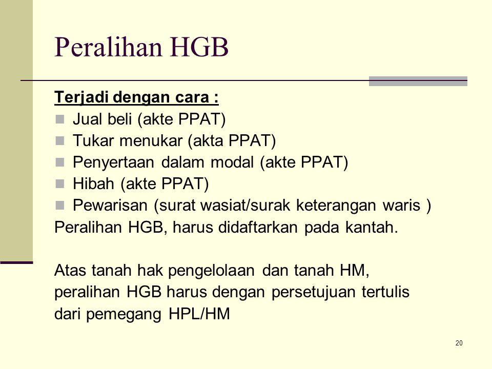 Peralihan HGB Terjadi dengan cara : Jual beli (akte PPAT)