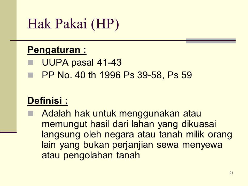 Hak Pakai (HP) Pengaturan : UUPA pasal 41-43
