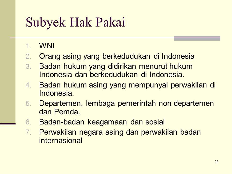 Subyek Hak Pakai WNI Orang asing yang berkedudukan di Indonesia