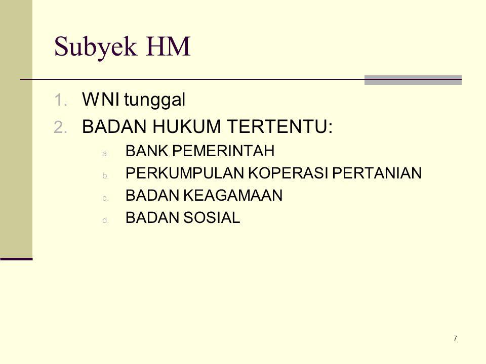 Subyek HM WNI tunggal BADAN HUKUM TERTENTU: BANK PEMERINTAH