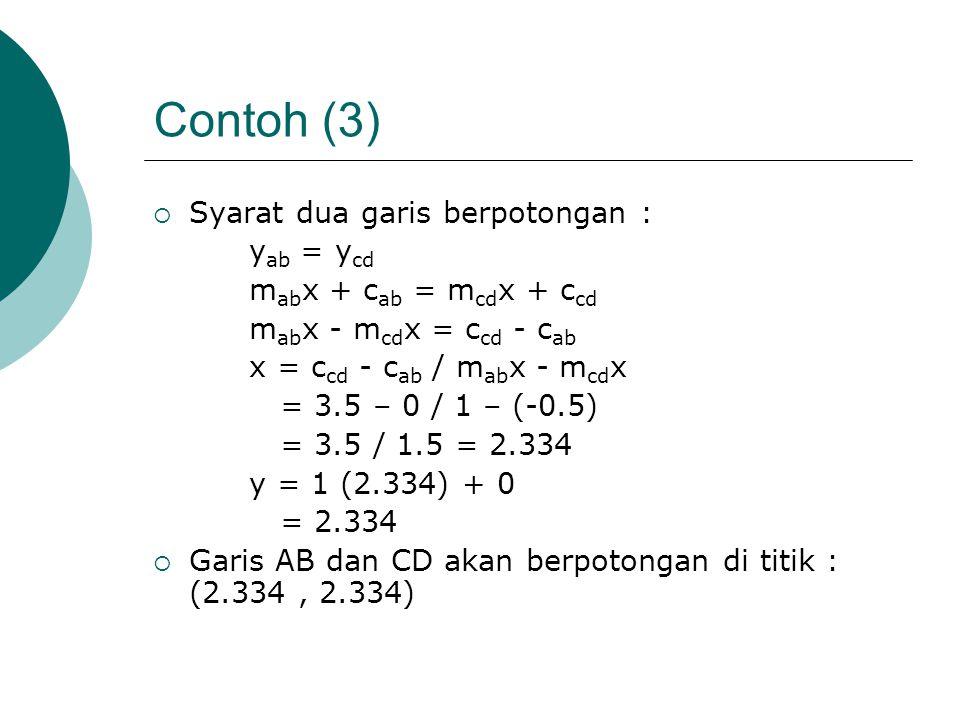 Contoh (3) Syarat dua garis berpotongan : yab = ycd