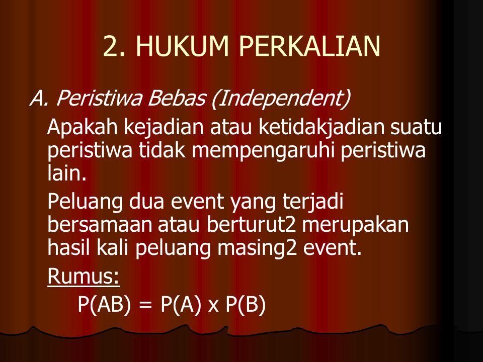 2. HUKUM PERKALIAN A. Peristiwa Bebas (Independent)