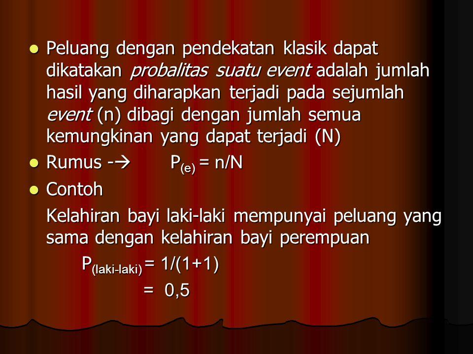 Peluang dengan pendekatan klasik dapat dikatakan probalitas suatu event adalah jumlah hasil yang diharapkan terjadi pada sejumlah event (n) dibagi dengan jumlah semua kemungkinan yang dapat terjadi (N)