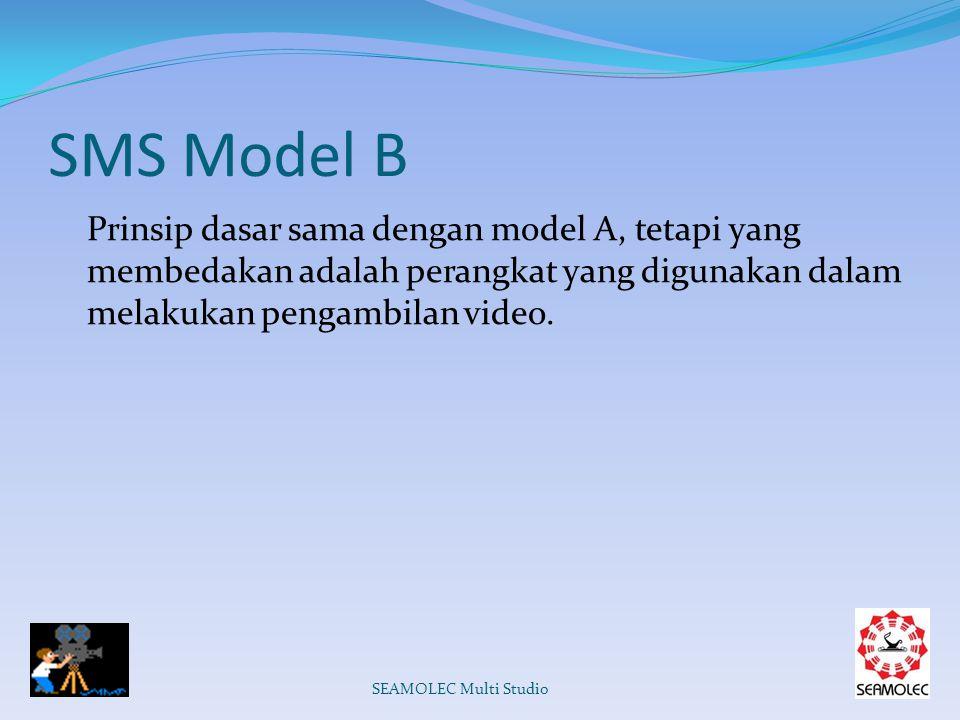 SMS Model B Prinsip dasar sama dengan model A, tetapi yang membedakan adalah perangkat yang digunakan dalam melakukan pengambilan video.