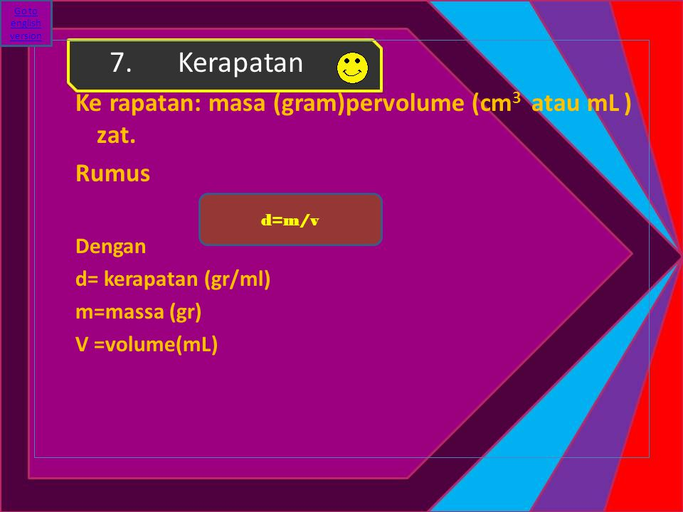 7. Kerapatan Ke rapatan: masa (gram)pervolume (cm3 atau mL ) zat.