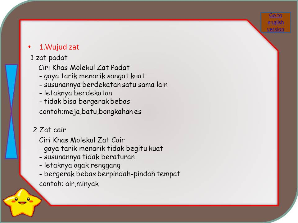 Go to english version 1.Wujud zat. 1 zat padat.