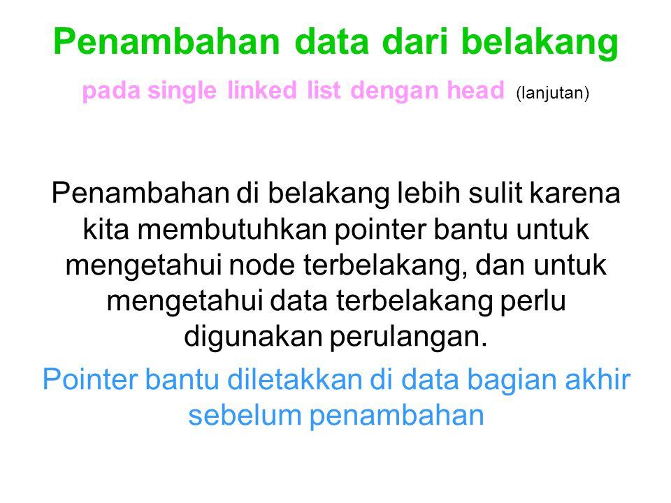 Pointer bantu diletakkan di data bagian akhir sebelum penambahan