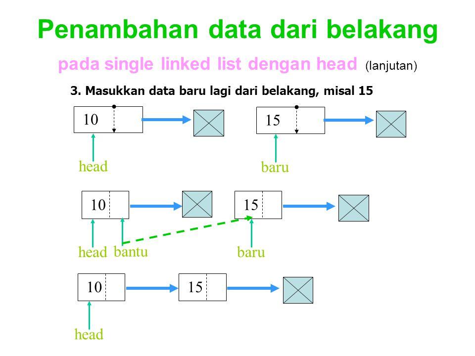 Penambahan data dari belakang pada single linked list dengan head (lanjutan)