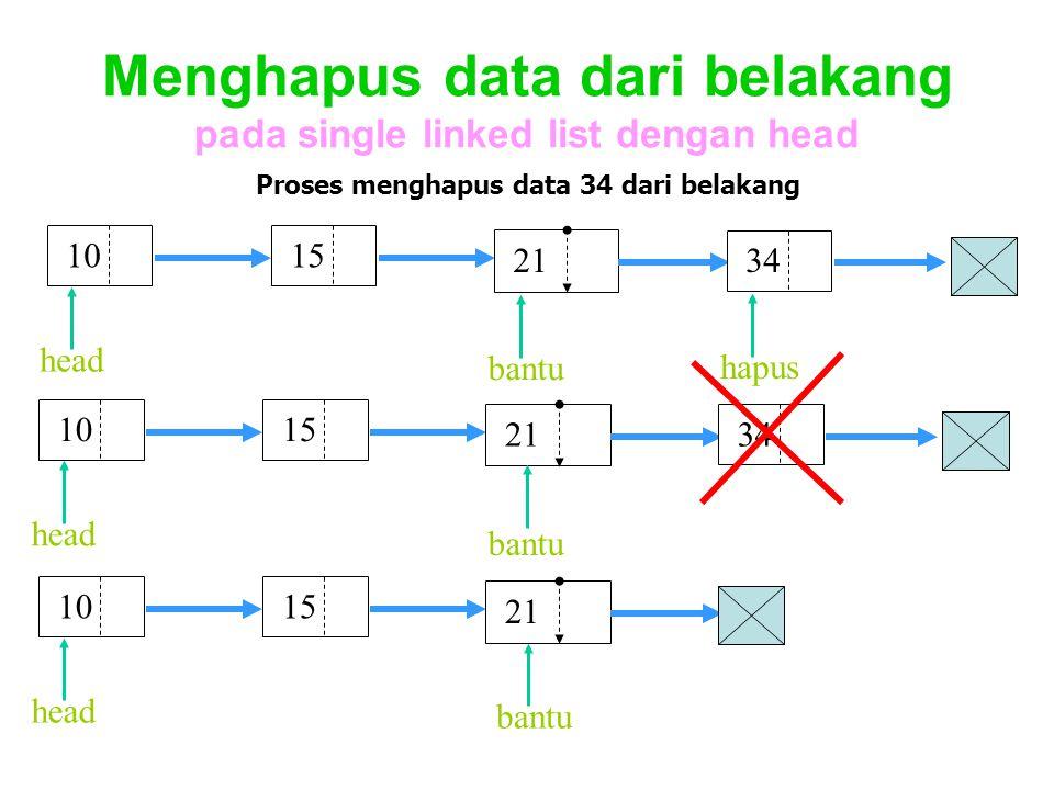 Menghapus data dari belakang pada single linked list dengan head