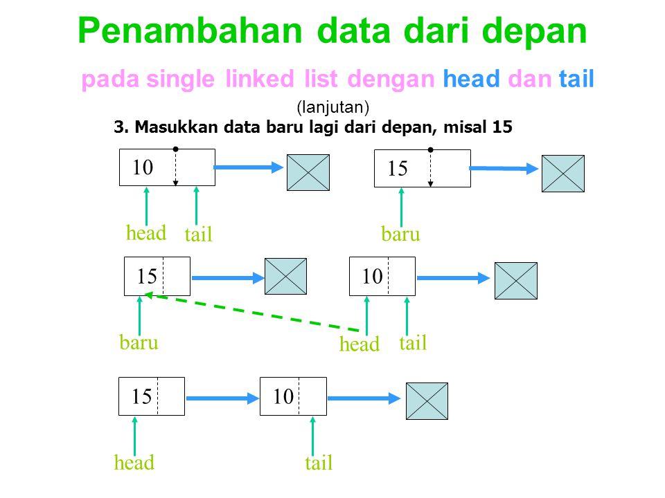 Penambahan data dari depan pada single linked list dengan head dan tail (lanjutan)