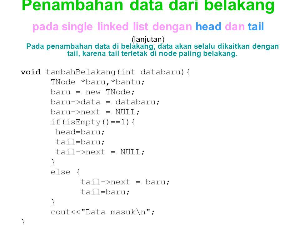 Penambahan data dari belakang pada single linked list dengan head dan tail (lanjutan)