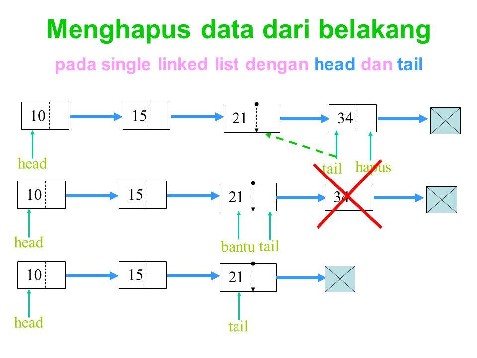 Menghapus data dari belakang pada single linked list dengan head dan tail