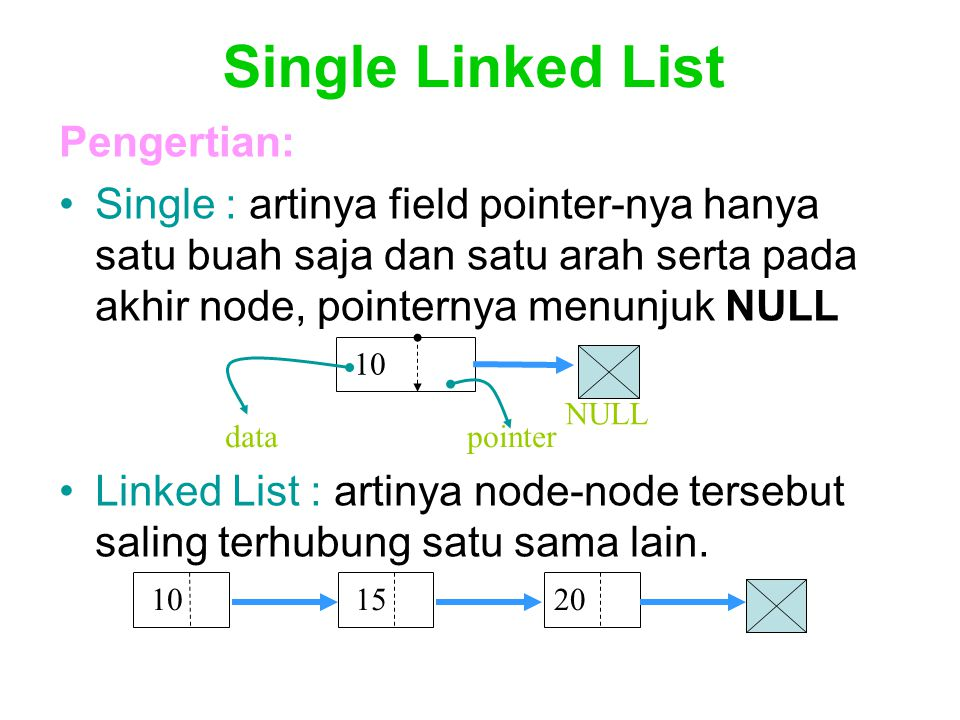 Single Linked List Pengertian: