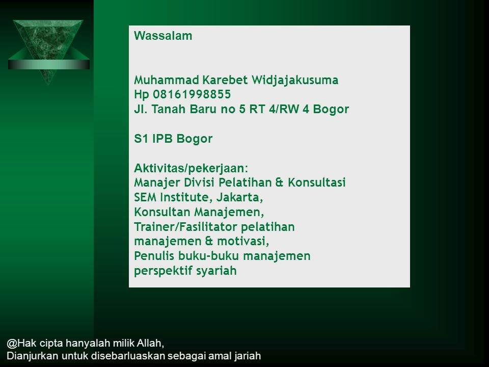 Muhammad Karebet Widjajakusuma Hp 08161998855