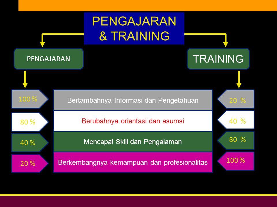 PENGAJARAN & TRAINING TRAINING PENGAJARAN 100 % 20 % 80 % 40 % 80 %