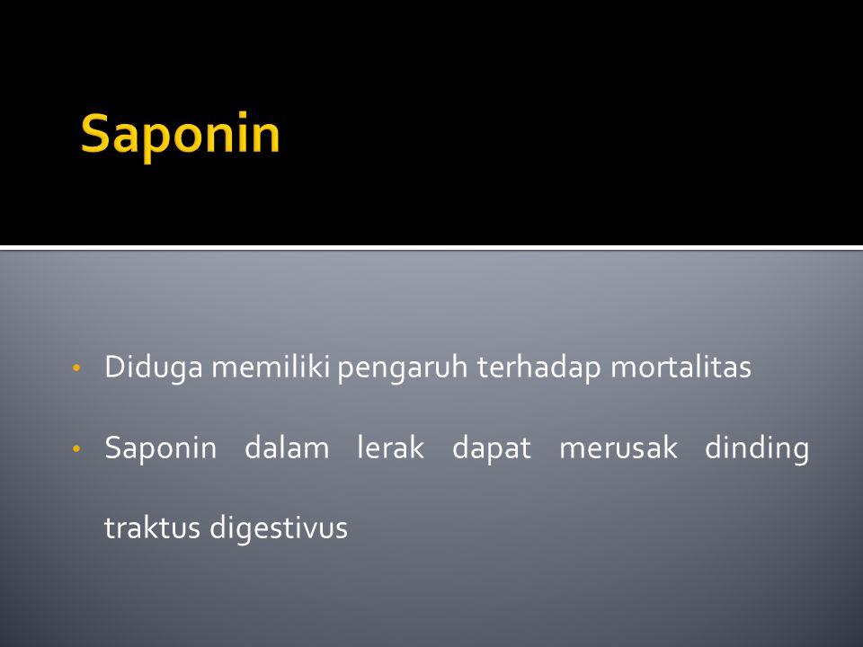 Saponin Diduga memiliki pengaruh terhadap mortalitas