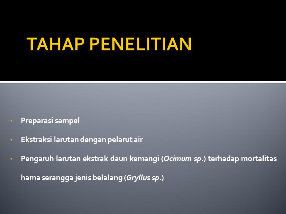 TAHAP PENELITIAN Preparasi sampel Ekstraksi larutan dengan pelarut air