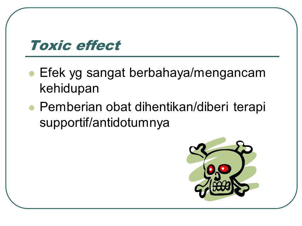 Toxic effect Efek yg sangat berbahaya/mengancam kehidupan