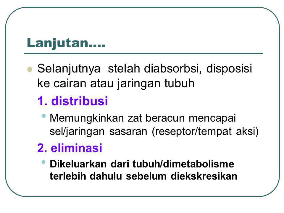 Lanjutan…. Selanjutnya stelah diabsorbsi, disposisi ke cairan atau jaringan tubuh. 1. distribusi.