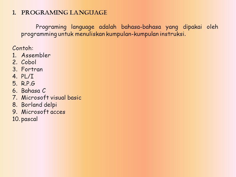 PROGRAMING LANGUAGE Programing language adalah bahasa-bahasa yang dipakai oleh programming untuk menuliskan kumpulan-kumpulan instruksi.