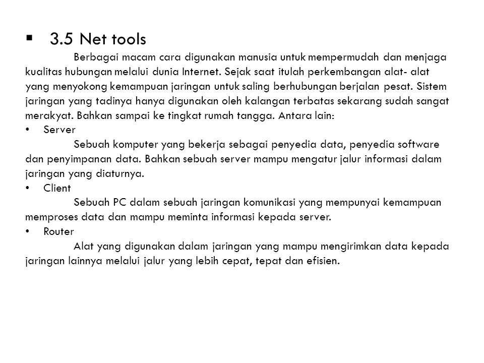 3.5 Net tools